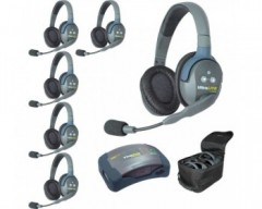 Eartec UltraLITE and HUB 6-Person System with 6 Double Remote Headsets