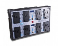 BLUESHAPE CVS8W Studio charger Vlock batteries , WALL MOUNTING Charges 8 batteries simultaneour.