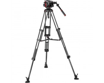 Manfrotto 504HD Head & Carbon Fiber Twin Leg Video Tripod Kit (100/75mm, Mid-Level Spreader)