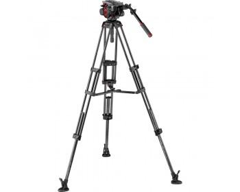 Manfrotto 504HD Kit treppiede per video carbonio e testa (100 /75mm )