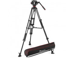 Manfrotto 504X Fluid Video Head & MVTTWINMA Aluminum Tripod with Mid-Level Spreader