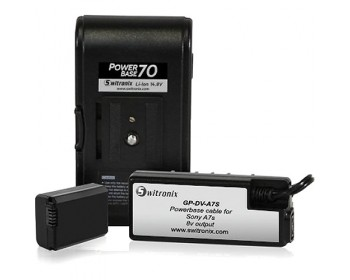 "Switronix PowerBase 70 Battery for Sony a7S (24"" Cable)"