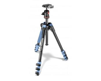 Manfrotto Kit Traveller con testa a sfera, 4 sezioni alluminio blu