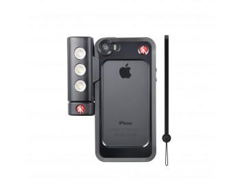Manfrotto Kit per iPhone 5/5s con luce led e bumper nero
