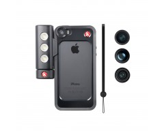 Manfrotto Kit per iPhone 5/5s con tre lenti + luce LED + bumper nero