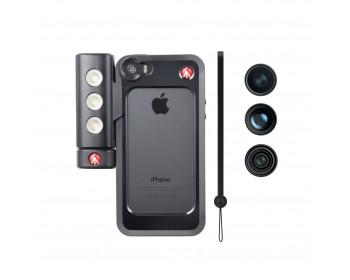 Manfrotto Kit per iPhone 5/5s con tre lenti + luce LED + bumper nero