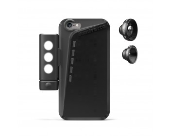 Manfrotto Kit custodia per Iphone 6, luce LED, tele 3X e fisheye