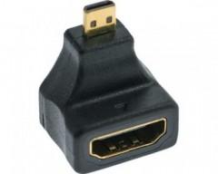 InLine Adattatore HDMI 19pin Type-A femmina a HDMI Micro Type-D maschio, angolato a 90 gradi, pin dorati