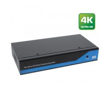 InLine Video Wall Splitter, Ingresso 1x DisplayPort - Uscita 4x HDMI, 4K2K, supporta Video Wall (Multischermo) 2x2