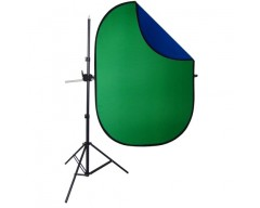 DynaSun 150x200cm Blu/Verde Chromakey Kit Professionale Braccio Telescopico Giraffa con Fondale Background Pieghevole Doubleface